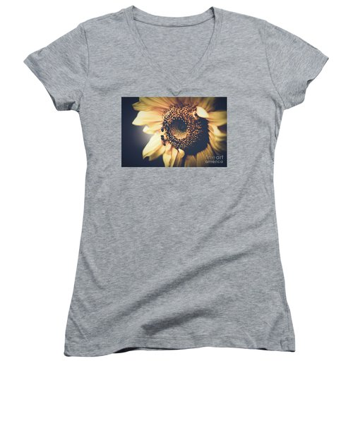 Women's V-Neck T-Shirt (Junior Cut) featuring the photograph Golden Honey Bees And Sunflower by Sharon Mau