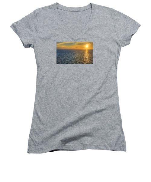 Golden Hour At Sea Women's V-Neck T-Shirt (Junior Cut) by Lewis Mann