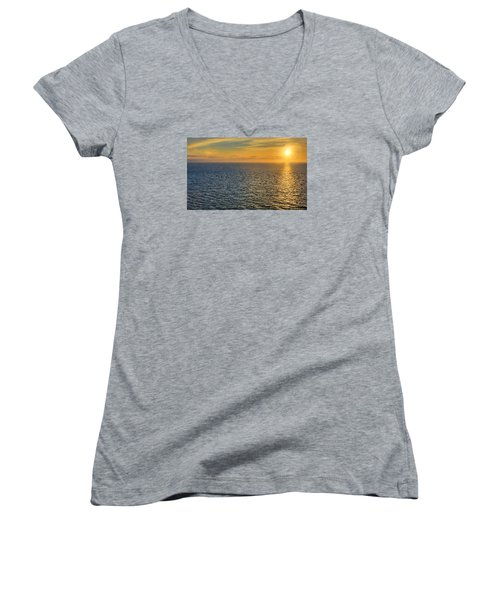 Golden Hour At Sea Women's V-Neck T-Shirt