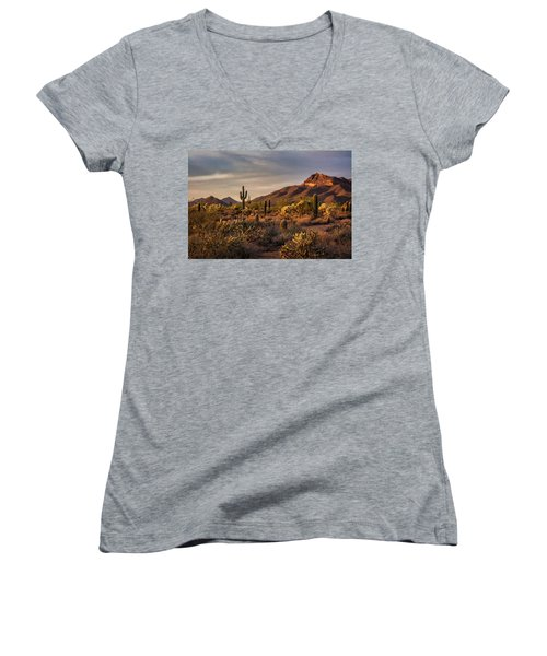 Women's V-Neck T-Shirt featuring the photograph Golden Hour On The Usery  by Saija Lehtonen