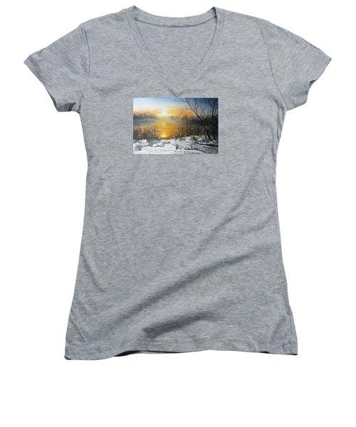 Golden Lake Sunrise  Women's V-Neck T-Shirt (Junior Cut) by Vesna Martinjak