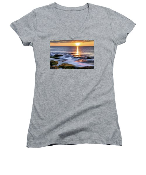 Golden Light Sunset, Rockport  Ma. Women's V-Neck