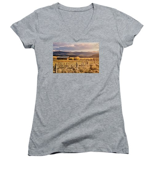Golden Lonesome Women's V-Neck T-Shirt (Junior Cut) by Lana Trussell