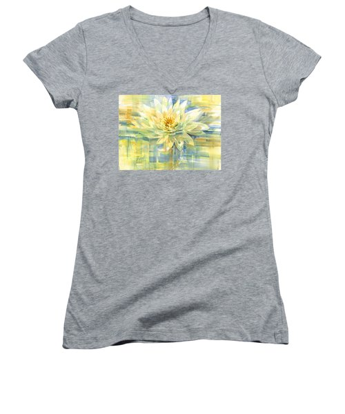 Women's V-Neck featuring the painting Golden Lotus by Carolyn Utigard Thomas