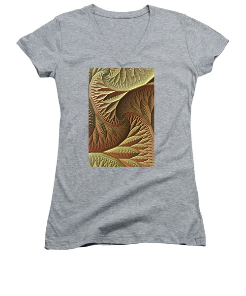 Women's V-Neck T-Shirt (Junior Cut) featuring the digital art Golden by Lyle Hatch