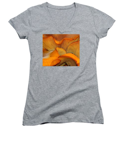 Golden Mushroom Abstract Women's V-Neck