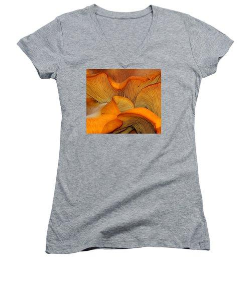 Golden Mushroom Abstract Women's V-Neck T-Shirt