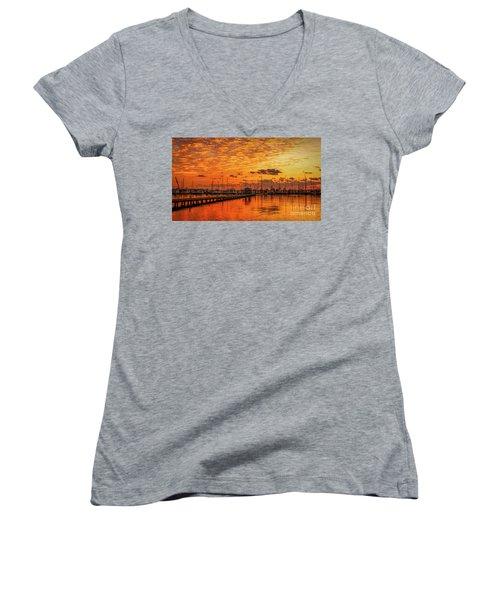 Golden Orange Sunrise Women's V-Neck T-Shirt (Junior Cut) by Tom Claud