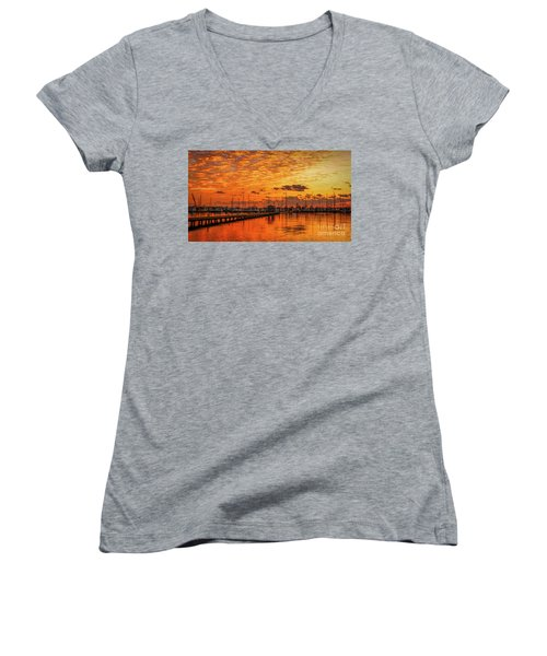 Golden Orange Sunrise Women's V-Neck T-Shirt