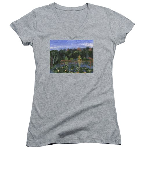 Women's V-Neck T-Shirt featuring the painting Golden Pagoda by Jamie Frier