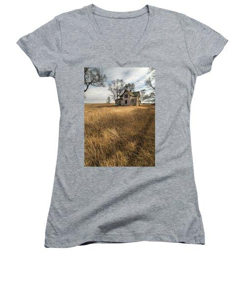 Women's V-Neck T-Shirt (Junior Cut) featuring the photograph Golden Prairie  by Aaron J Groen