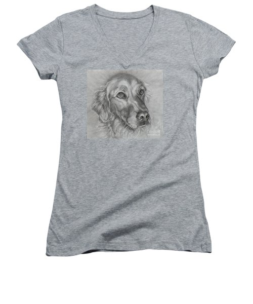 Golden Retriever Drawing Women's V-Neck