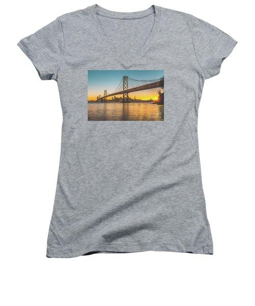 Golden San Francisco Women's V-Neck T-Shirt (Junior Cut) by JR Photography