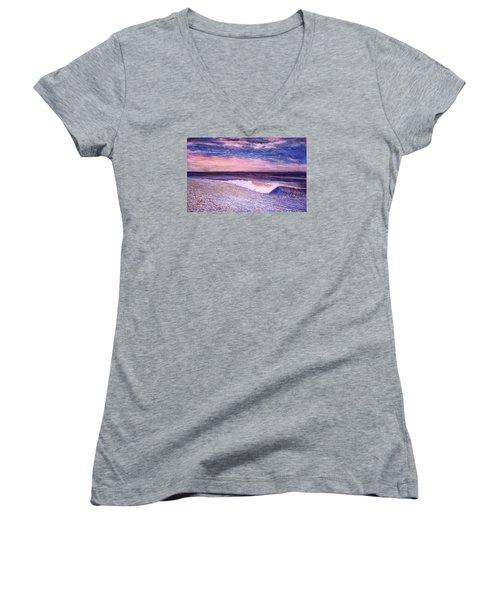 Golden Sea Women's V-Neck T-Shirt (Junior Cut) by Jeanette Jarmon