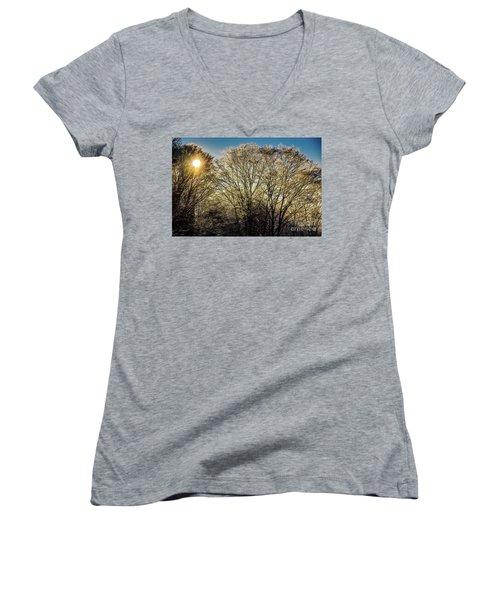 Women's V-Neck T-Shirt (Junior Cut) featuring the photograph Golden Snow by Tatsuya Atarashi