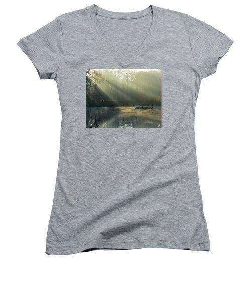 Golden Sun Rays Women's V-Neck T-Shirt (Junior Cut) by George Randy Bass