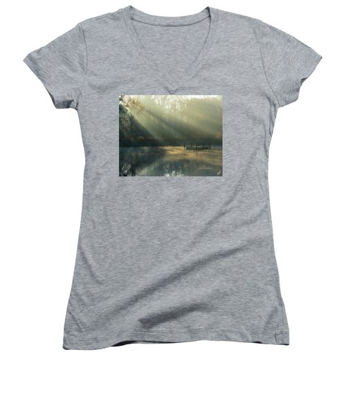 Women's V-Neck T-Shirt (Junior Cut) featuring the photograph Golden Sun Rays by George Randy Bass