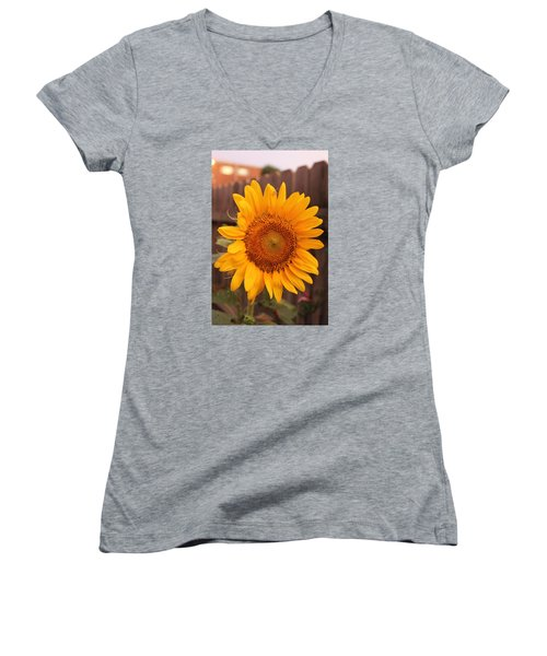 Golden Sunflower Closeup Women's V-Neck (Athletic Fit)