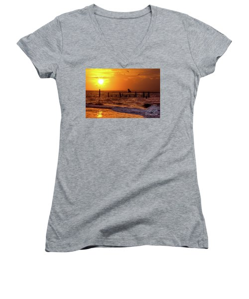 Golden Sunrise On The Outer Banks Women's V-Neck T-Shirt (Junior Cut) by Dan Carmichael