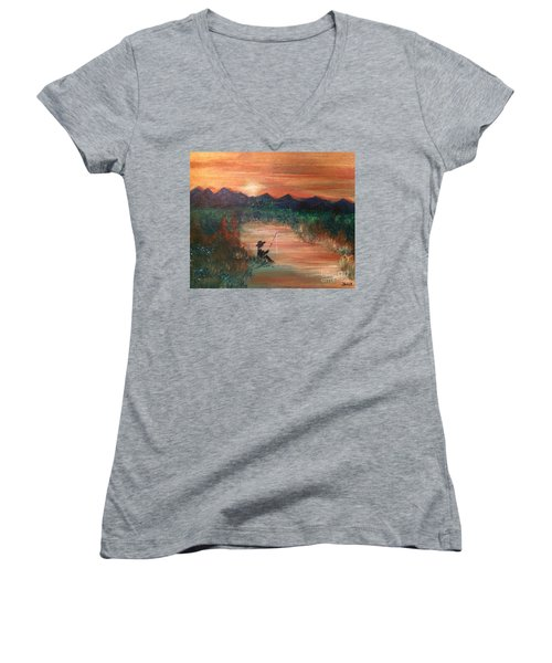 Women's V-Neck T-Shirt featuring the painting Golden Sunset by Denise Tomasura