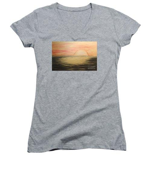 Golden Sunset Women's V-Neck T-Shirt (Junior Cut) by Rachel Hannah