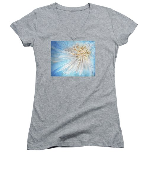 Women's V-Neck T-Shirt (Junior Cut) featuring the mixed media Golden Sunshine by Angela Stout