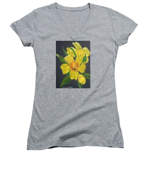 Golden Trumpet Flower - Allamanda Vine Women's V-Neck (Athletic Fit)