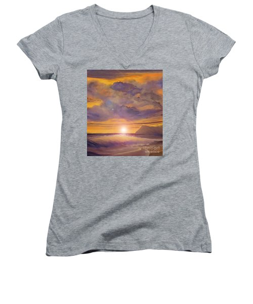 Golden Wave Women's V-Neck T-Shirt (Junior Cut) by Holly Martinson