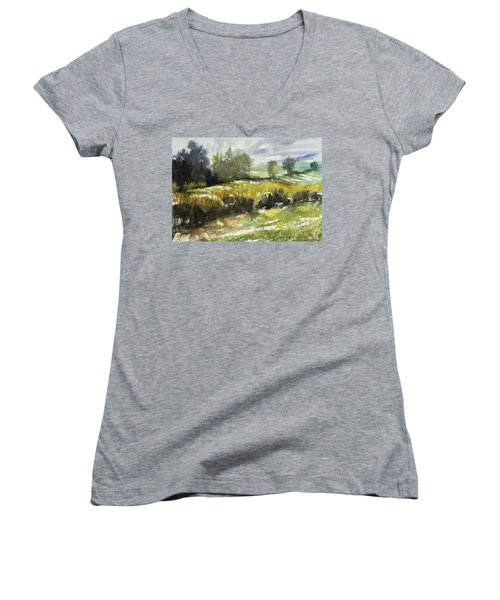Goldenrod On The Lane Women's V-Neck (Athletic Fit)