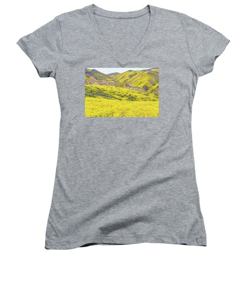 Women's V-Neck T-Shirt (Junior Cut) featuring the photograph Goldfields And Temblor Hills by Marc Crumpler
