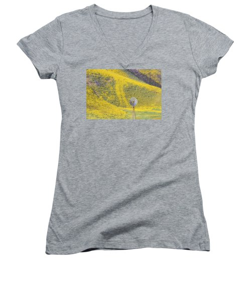 Goldfields And Windmill At Carrizo Plain  Women's V-Neck T-Shirt (Junior Cut) by Marc Crumpler