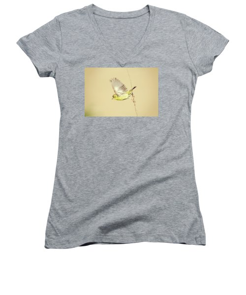 Goldfinch Flying Off  Women's V-Neck (Athletic Fit)