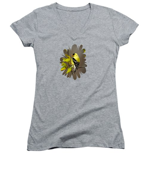 Women's V-Neck T-Shirt featuring the photograph Goldfinch Suspended In Song by Christina Rollo