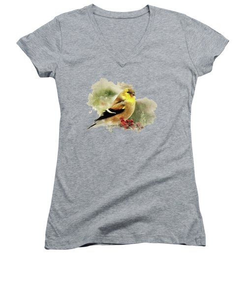 Goldfinch Watercolor Art Women's V-Neck (Athletic Fit)