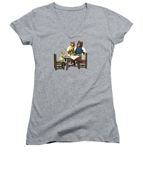 Women's V-Neck T-Shirt (Junior Cut) featuring the painting Goldilocks N The 3 Bears by Methune Hively