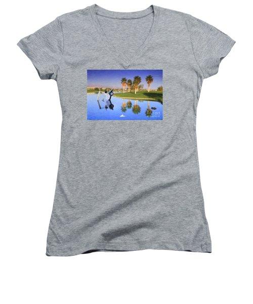 Women's V-Neck T-Shirt (Junior Cut) featuring the photograph Golf Cart Stuck In Water by David Zanzinger