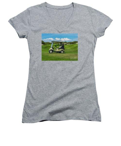 Golf Cart Women's V-Neck (Athletic Fit)