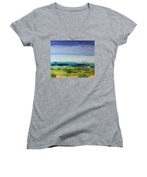 Women's V-Neck T-Shirt (Junior Cut) featuring the painting Golf by Geeta Biswas