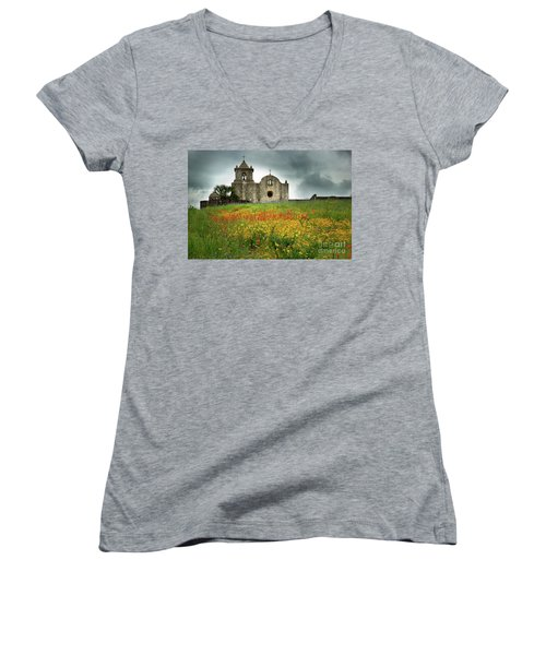 Goliad In Spring Women's V-Neck T-Shirt (Junior Cut) by Jon Holiday