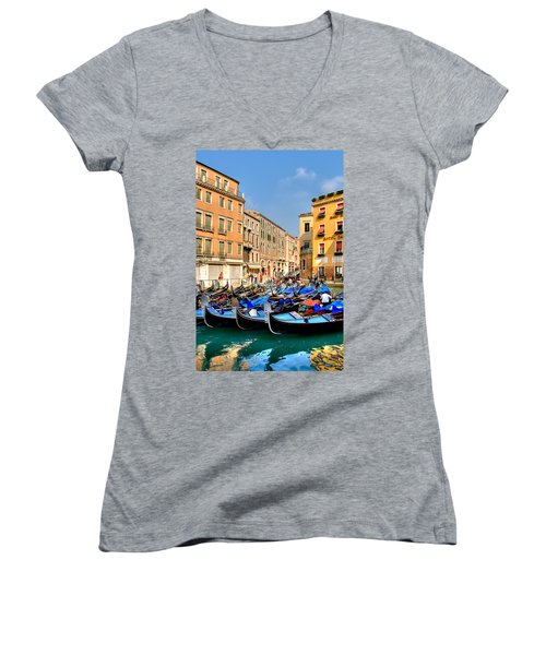 Gondolas In The Square Women's V-Neck T-Shirt (Junior Cut) by Peter Tellone