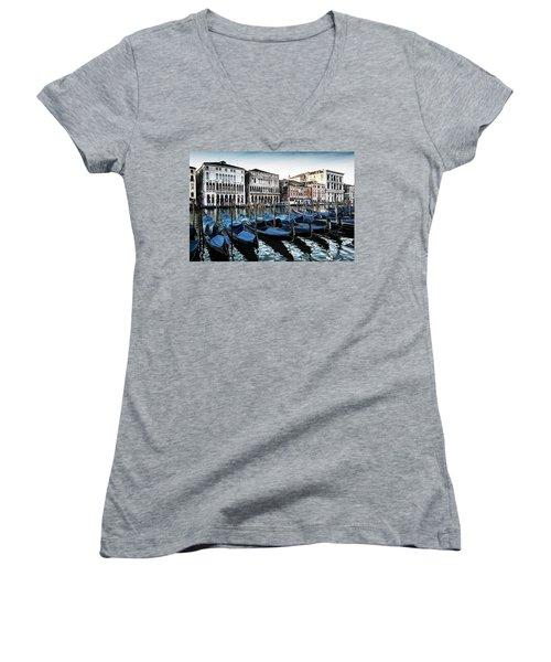 Gondolas Women's V-Neck T-Shirt (Junior Cut) by M G Whittingham