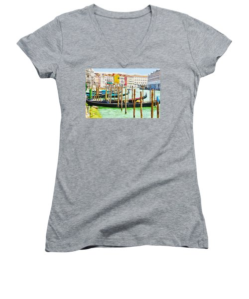 Gondolas On The Grand Canal Venice Italy Women's V-Neck (Athletic Fit)