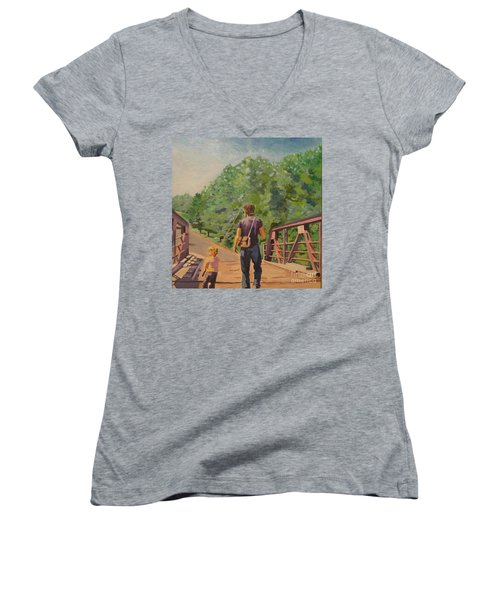 Gone Fishing With Dad Women's V-Neck