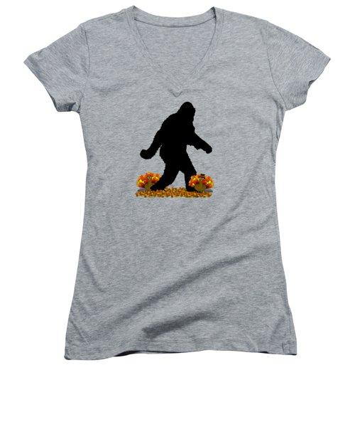Gone Thanksgiving Squatchin' Women's V-Neck T-Shirt (Junior Cut) by Gravityx9   Designs