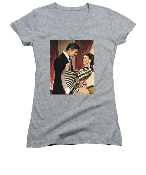 Gone With The Wind - 1939 - Completely Retouched In Color Women's V-Neck