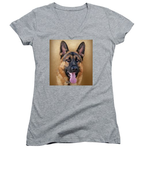 Good Boy Women's V-Neck T-Shirt (Junior Cut) by Sandy Keeton
