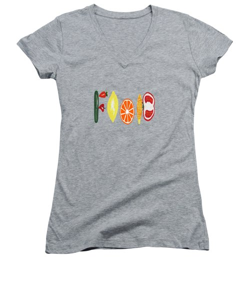 Good Eats Women's V-Neck T-Shirt (Junior Cut) by Kathleen Sartoris