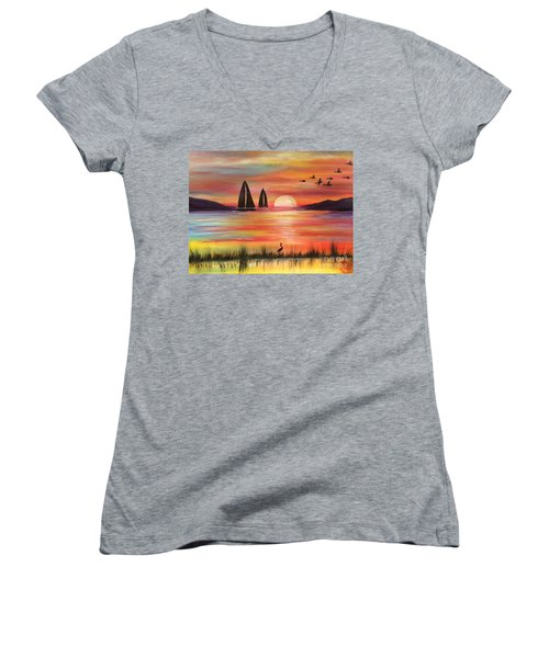 Women's V-Neck T-Shirt featuring the painting Good Eveving by Denise Tomasura