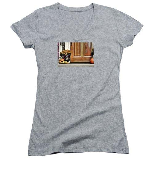 Good Gourds Women's V-Neck T-Shirt (Junior Cut) by JAMART Photography