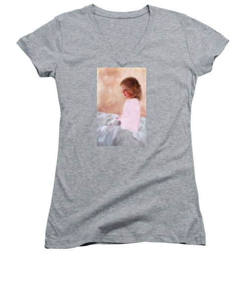 Good Morning Bunnie Women's V-Neck T-Shirt (Junior Cut) by Colleen Taylor